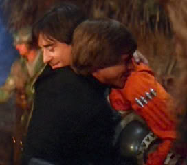 Luke and Wedge hug it out after the Battle of Endor
