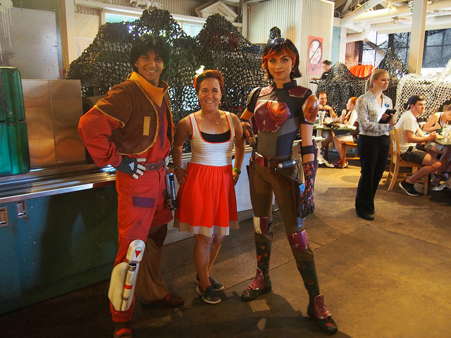 Sabine and Ezra stopped by the Rebel Hangar. But shhh! They're still wanted by the Empire...