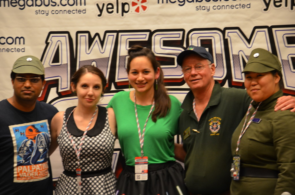 Jay, Amy, Bria, John, and Anna after the State of the Galaxy panel [Photo Credit: Feed Your Nerd]
